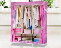 Wholesale New Fashion DIY Portable Oxford Wardrobe Clothes Storage Hanger Closet with Waterproof Cover