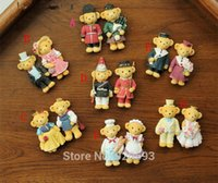 Wholesale Marriage gauze bear teddy bear refrigerator magnet absorption resin home decoration gift