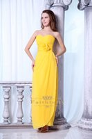 Wholesale 2015 Designer Occasion Dresses Sheath Prom Dresses Sweetheart Ankle Length Dark Yellow Chiffon Sleeveless Backless Real Image ZPL0049