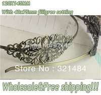 Wholesale Antique brass bronze metal hairband hair band headband findings accessories x145mm and x75mm filigree cabochon setting