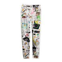 Wholesale Funky Women Polyester Sexy Slim Graffiti Stretchy Leggings Pencil Skinny Pants ALOM
