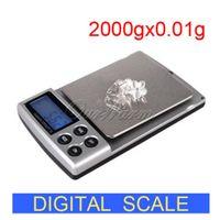 Escala portable de la joyería de equilibrio electrónico Balanza digital mini bolsillo con Pan de acero inoxidable LCD 2kg Display Capacidad