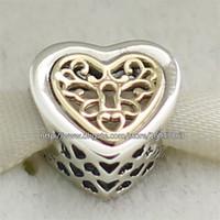 Corazón del oro de la pulsera 925 España-100% de los corazones de plata de ley 925 de oro 14K real Bloqueado grano del encanto adapta Europea joyería de Pandora pulseras collares pendientes