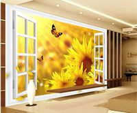 Wholesale Papel de parede window Sunflower D backdrop window non woven wallpaper new large murals costomize size Free fast shipping