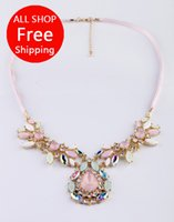 Cheap Free shipping high quality Short Flower Crystal diamond Pendant Necklace gems jewelry fashion necklace bijouterie for women 2014