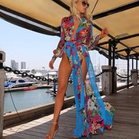 Wholesale Hottest Sexy High Split Long Maxi Dress Blue Floral Print Deep V Long Sleeve Beach Dress Fashion Celebrity Special Occasion Party Dress