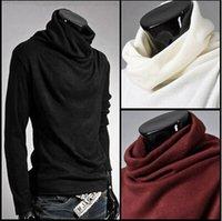Wholesale 2014 Cotton Flax new hot men piles high collar shirt collar men s sweater bottoming