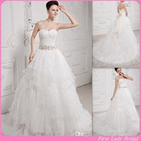 designer wedding dresses - 2015 Designer Wedding Dresses Supplier Ivory Organza Sweetheart With Champagne Sash Pleats Bridal Gowns Vintage Brides Dress For Womens