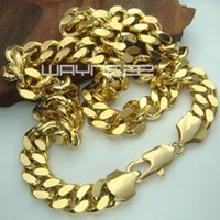 curb link chain - 18k gold Filled mens solid Heavy chain long Necklace curb ring link jewell N224