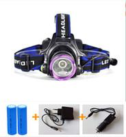 Wholesale Drop shipping Lumens CREE XM L T6 LED Headlight Headlamp Head Lamp Light LED Head Torch EU AU US AC Charger maH Battery