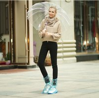 Wholesale Rain Flat Heel Fashion Reusable Waterproof Shoes Cover Waterproof Non Slip Overshoes PVC Rain Boots Men Women Anti Slip Shoes Cover