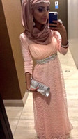 beaded head dress - Muslim Long Evening Dress robe de soiree Full Sleeves Straight With Belt Lace Chiffon Custom Made Prom Gowns NO Head Veil
