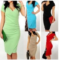 best work dresses - Best Quality Summer Women s Short Sleeve V neck Elegant Casual Formal Work Evening sexy Pencil Plus Size Dress
