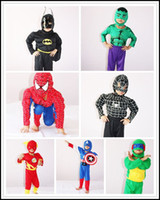 Wholesale 2015 Kids hot super hero muscle cosplay costume children boys superhero spiderman batman turtles flash hulk halloween J081201