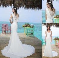 beach weddings australia - 2015 Beach Mermaid Wedding Dresses White Chiffon V neck Trajes De Novia Australia Bridal Gowns Western Bride Dress Custom Size Made