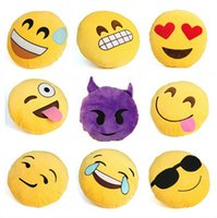 Wholesale 13 Styles Cushion Cute Lovely Emoji Smiley Pillows Cartoon Facial QQ Expression Cushion Pillows Yellow Round Pillow Stuffed Plush Toy