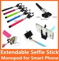 Wholesale Extendable Wired Selfie Stick Handheld Monopod Remote Shutter Clip Holder for Iphone Plus S S Samsung Sony Z4 LG Smart Phone
