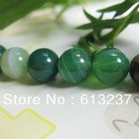 Estilo de la moda de 8 mm 6 mm 10 mm 12 mm verde natural de ágata de la raya de piedra de jade cuentas de ónix redondo sueltos bricolaje joyas GE0799