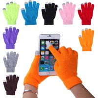 Wholesale 12 Colors Women Men Soft Knitted Winter Warmer Touch Gloves Smart For All phones Touch Screen Gloves Paris