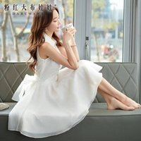 Wholesale DABUWAWA Lady Elegant Sleeveless Lapel Neck Golden Button Layered A line White Chiffon Dress
