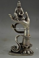 Cheap Rare Old Miao Silver Carving A Efficacy Kwan-yin Sit On Buddha Hand's Statue
