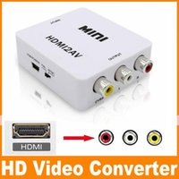 audio converter chip - 1080P HDMI to AV Converter RCA CVBS Audio Video Adapter For HDTV Chip Mini HDMI2AV DHL OM CD8