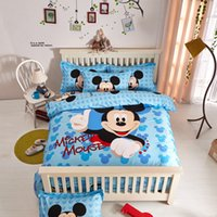 mickey mouse bedding - Cartoon Kids Bedding Set Children Queen Size Bed Set Mickey Mouse Minny Pink Blue Two Patterns Duvet Cover Bed Sheet Pillow Case