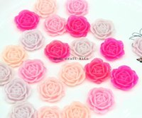 Wholesale 200pcs big mm sale Resin Rose Flowers Flat Backs in Assorted Colors pink lavender hot pink shade Flatback Cabochons