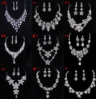 Wholesale Crystal Bridal Jewelry Wedding Accessories Sets Two Pieces Silver Color In Stock Rhinestone Wedding Dress Necklace Earrings