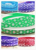 Wholesale yards quot mm width white snow printed grosgrain ribbon DIY hair bow accessories gift package