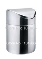 stainless steel trash bin - High Quality L Stainless Steel Mini Tablet Desktop Trash Rubbish Garbage Cans Waste Bin Dropshipping
