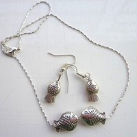 affordable necklace - Double Fish Silver Jewelry Sets Movable Design Affordable Earrings and Necklace Sets Silver Wedding Jewelry Sets for D08