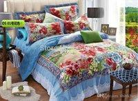 Wholesale Textile four sets of genuine cotton version painting bed linen cotton flower bed four pieces