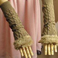 S5Q Guantes Sin dedos Mitones Brazo más caliente Extra Largo Invierno Fuax Guantes de Piel de tejidos de Punto Acanalado Para las Mujeres AAABDL