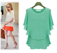 blouse free size - 2016 Women s Short skirt Large Size Round Neck Chiffon Blouse Dress Asia Size Bat Sleeve Shirt
