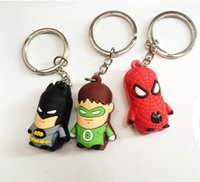 Wholesale New Superman Batman Spider Man cartoon anime boy Keychain sided soft toys for kids