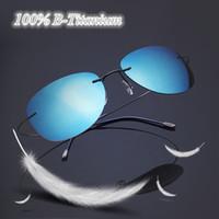 Wholesale 2017 New fashion B titanium frame rimless polarized sunglasses go with glasses box