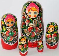 babushka matryoshka - Matryoshka Wooden Nesting Dolls with Red Strawberries Russian Babushka Matrioska Set pc