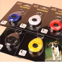 Wholesale 2015 New Dog Pet Click Clicker Training pet Trainer Blue Red Black Oval Shape Dog Supplies