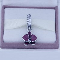 enamel charms - New S925 Sterling Silver Charms Pendants Orchid Dangling Charms With Enamel European Style Women Fine Jewelry CE675