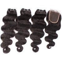 Wholesale Body Wave Natural Hair Extensions with Hair Closure A Unprocessed Indian Virgin Hair Human Hair Weave Tight and Neat BW