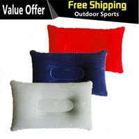 Wholesale Hot Sale Outdoor Camping Portable Folding Air Inflatable Pillow Double Sided Flocking Cushion for Travel Plane Hotel A3