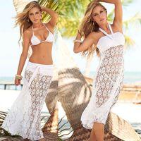 beachwear coverups - 2015 New Hot Womens Crochet Lace Bikini Coverups Skirt Dress Black White Hollow Out Wrap Dress Smooth Boho Vacation Beachwear Dress p