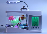 Wholesale Multifunctional USB Desktop Aquarium Mini aquariums Fish Tank with running water LED table lamp brush pot