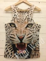 Wholesale Leopard Print Mens Tees - w1209 2015 new women mens funny hip hop tanks 3D tank Personality Tiger Leopard Wolf Mouse tops tee o-Neck print sexy ladies shirt