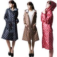 Wholesale Hot Selling Women Polka Dots Outdoor Travel Waterproof Riding Clothes Raincoat Poncho Hooded Knee Length Rainwear