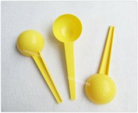 Envío libre 30 gramos de plástico HDPE cucharada Cuchara herramienta de medición de líquido de la leche en polvo médica - 150pcs amarillo / lot OP914