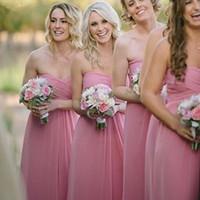 Wholesale Clothes Models Women Chiffon - Cheap Pink Junior Bridesmaids Dresses 2015 Empire Pleats Chiffon Long Bridesmaid Wedding Party Dress Maternity Women Formal Occasion Clothes