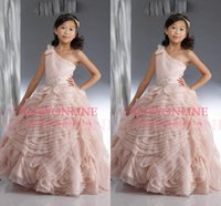 beauty full images - 2015 Beauty Girl s Pageant Dress Cute Pearl Pink One Shoulder Organza Draped Ruffle Full Length Glitz Ball Gown Flower Girl Gowns BO5818