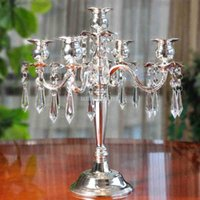 Wholesale European style Metal Crystal Pendant Arm Candlestick Home Hotel Ktv Supplies Wedding Romantic Wedding Gifts